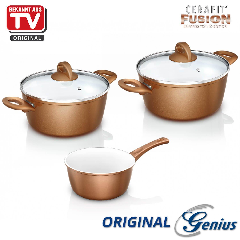 Genius DIS1 Cerafit Fusion, de cacerolas con tapa de cristal, 5 piezas, revestimiento de cerámica, Conocido Por TV de Fusion, Nuevo: Amazon.es: Hogar