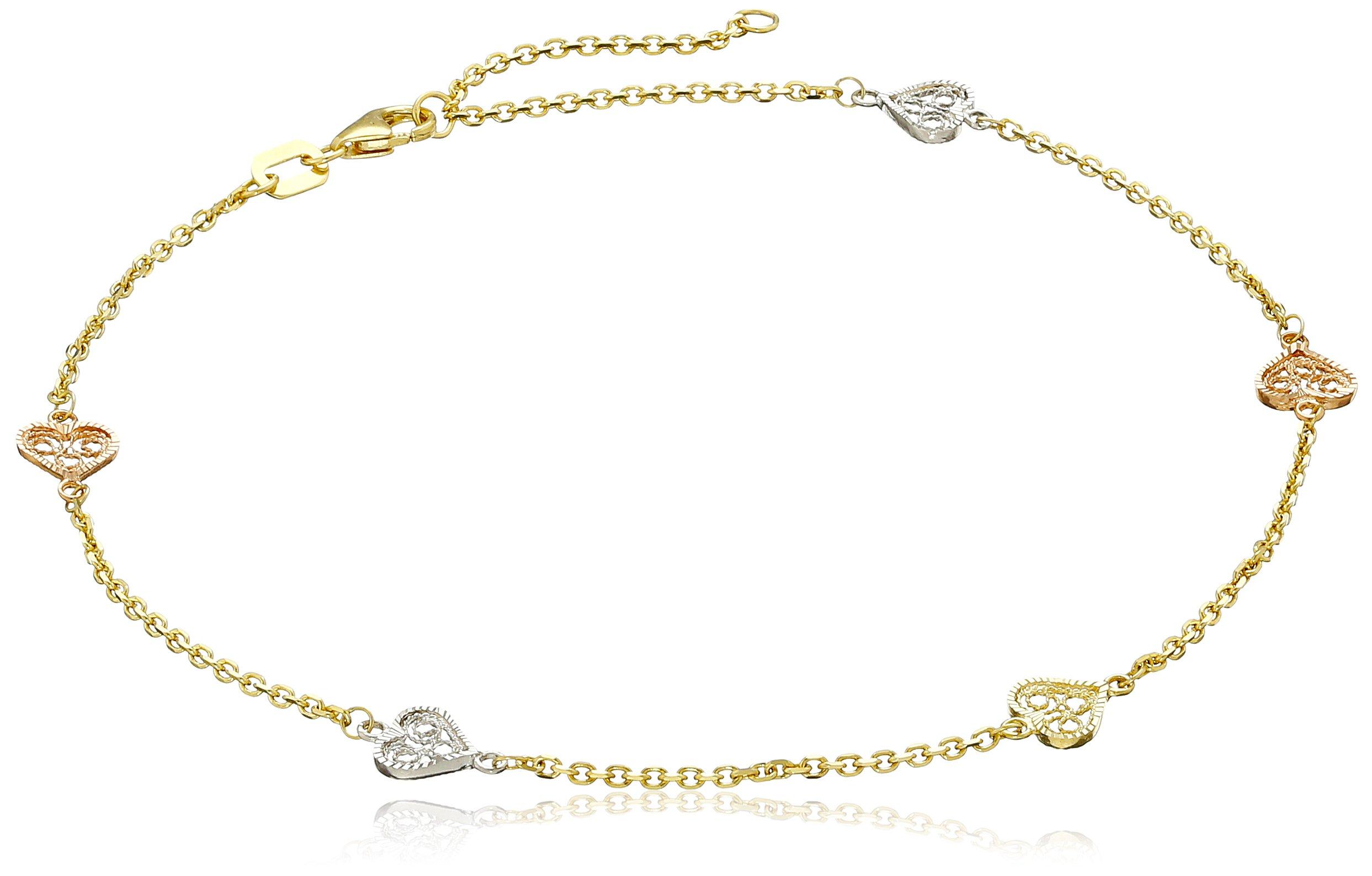 14k Gold Tri-Color Filigree Heart Station Anklet, 10''