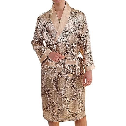 ac627d3305 YIMANIE Men s Silk Satin Robe Luxurious Spa Long Sleeve House Kimono  Nightwear Bathrobe