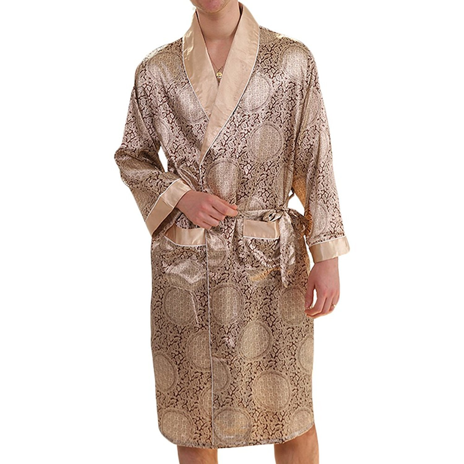 YIMANIE Men's Silk Satin Robe Luxurious Spa Long Sleeve House Kimono Nightwear Bathrobe,Gold,XL