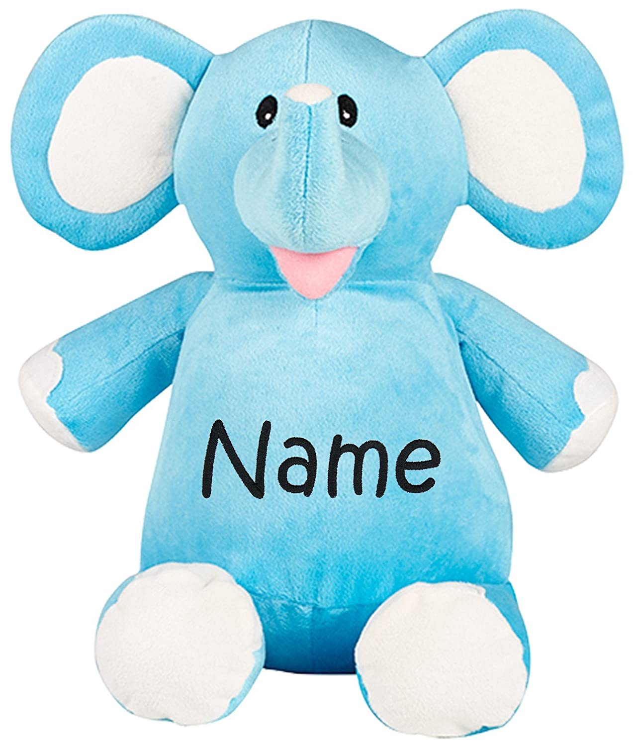 Amazon Com Personalized Stuffed Blue Elephant With Embroidered Name