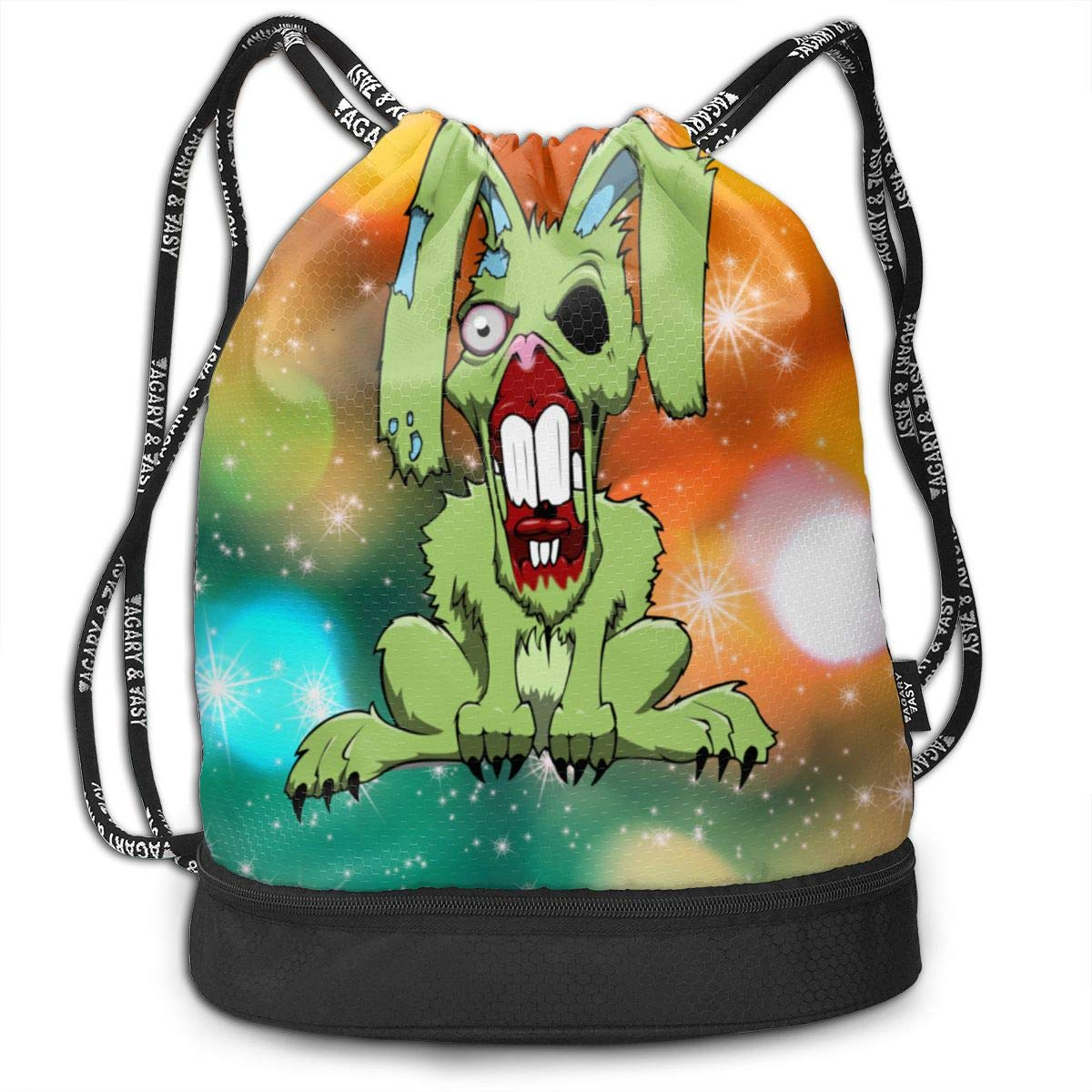 Fashion Outdoor Zipper Drawstring Bag Zombie Bunny Printed Bundle Backpack for Men Women Unisex Multi-Function Backpack