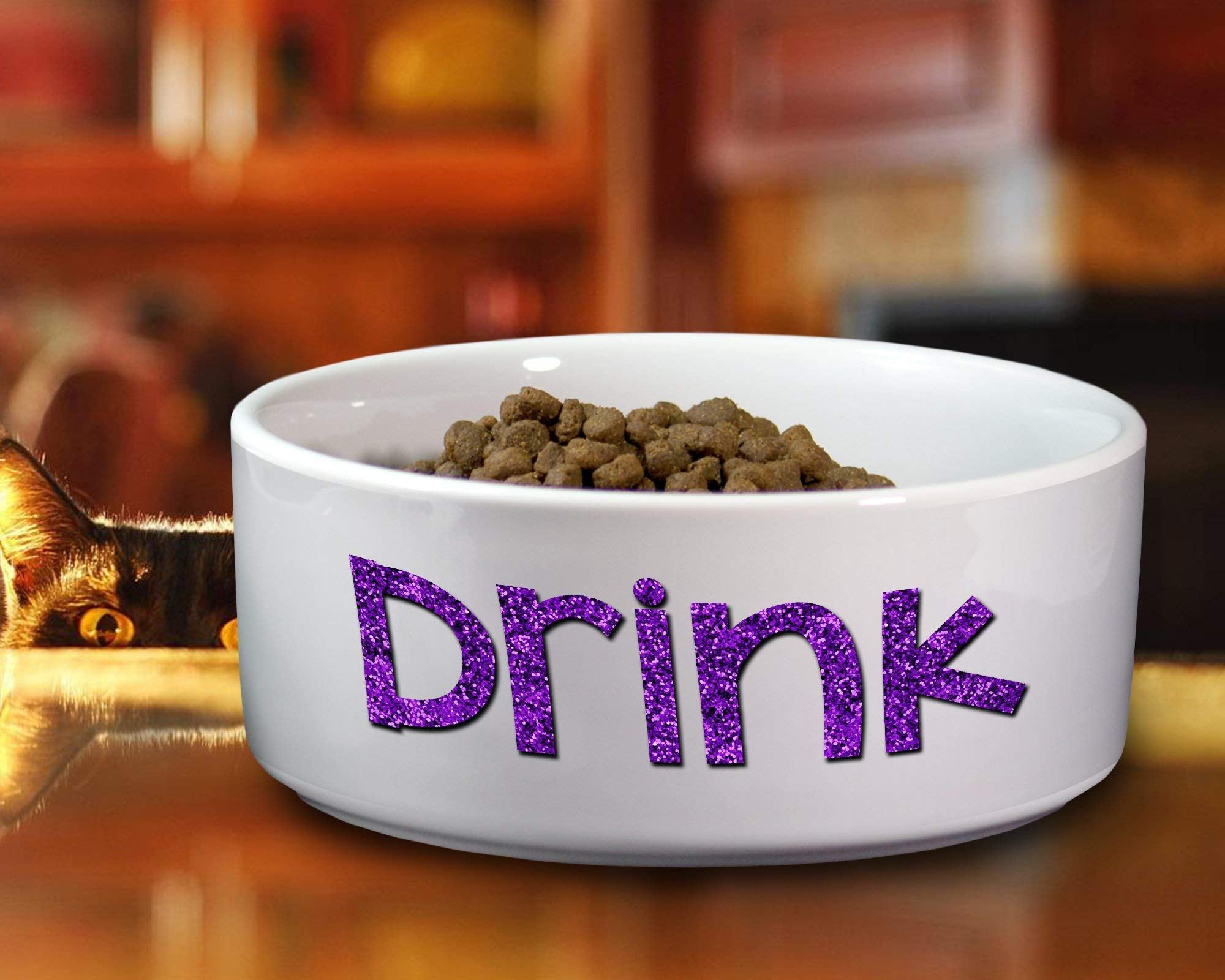 DRINK - Ceramic Dog Dish or Water Bowl - Small or Large Available