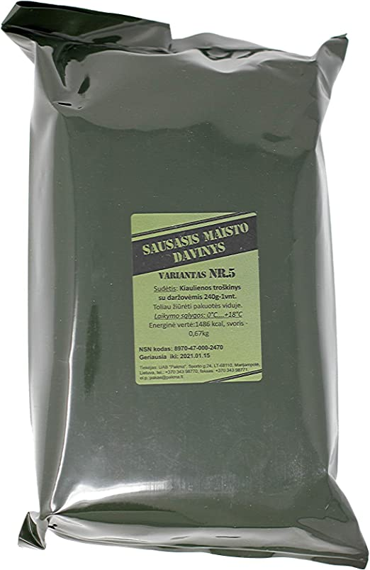 Lithuanian Army MRE ration pack (1 pack) Long Shelf Life: Amazon ...