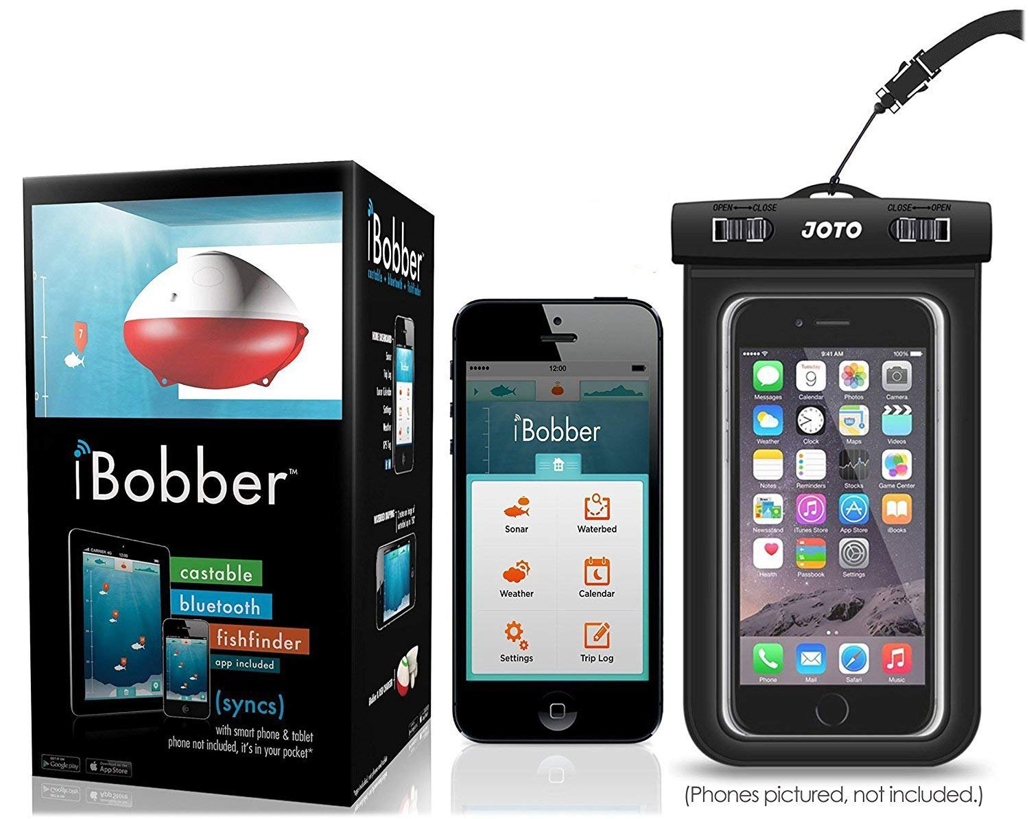 iBobber Wireless Bluetooth Smart Fish Finder for iOS and Android devices & JOTO Universal Waterproof CellPhone Case (Bundle) by iBobber Bundle