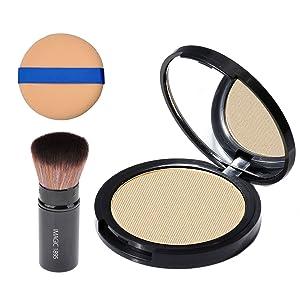 CCbeauty Illuminator Highlight Compact Powder Makeup Palette + Retractable Foundation Powder Makeup Blush Highlighter Brush and Powder Blending Puff Sponge,Makeup Powder and Brush Set