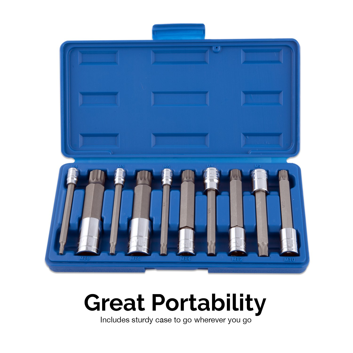 "Neiko 10054A XZN Triple Square Spline Bit Socket Set 10-Piece Set Extra Long 4/"" Length 4mm to 18mm 1//4/"" S2 and Cr-V Steel 3//8/"" and 1//2-Inch Drive"