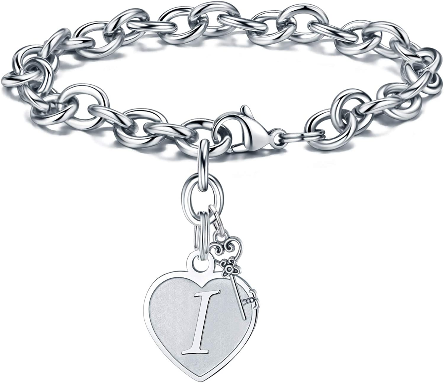 M MOOHAM Heart Initial Bracelets for Women Gifts - Engraved 26 Letters Initial Charms Bracelet Stainless Steel Bracelet Birthday Christmas Jewelry Gift for Women Teen Girls