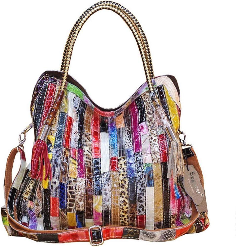 Women's Multicolor Boston Bag Genuine Leather Colorful Large Tote Handbag Purse