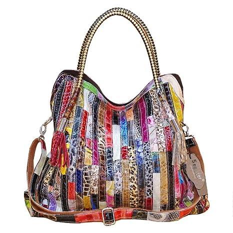 3b71cbe3e5ca2 Segater® Damen Multicolor Einkaufstasche Echtes Leder Handtasche Bunte  Patchwork Große Umhängetasche Shopper Taschen Großer Crossbody