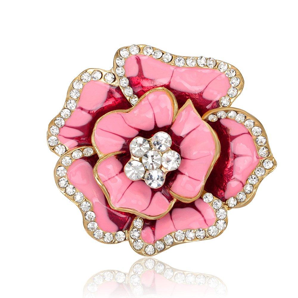 TIANLU La vida moderna Brooch Joyería de moda ropa de moda Joyas Crystal rosa florezca,Al075-F