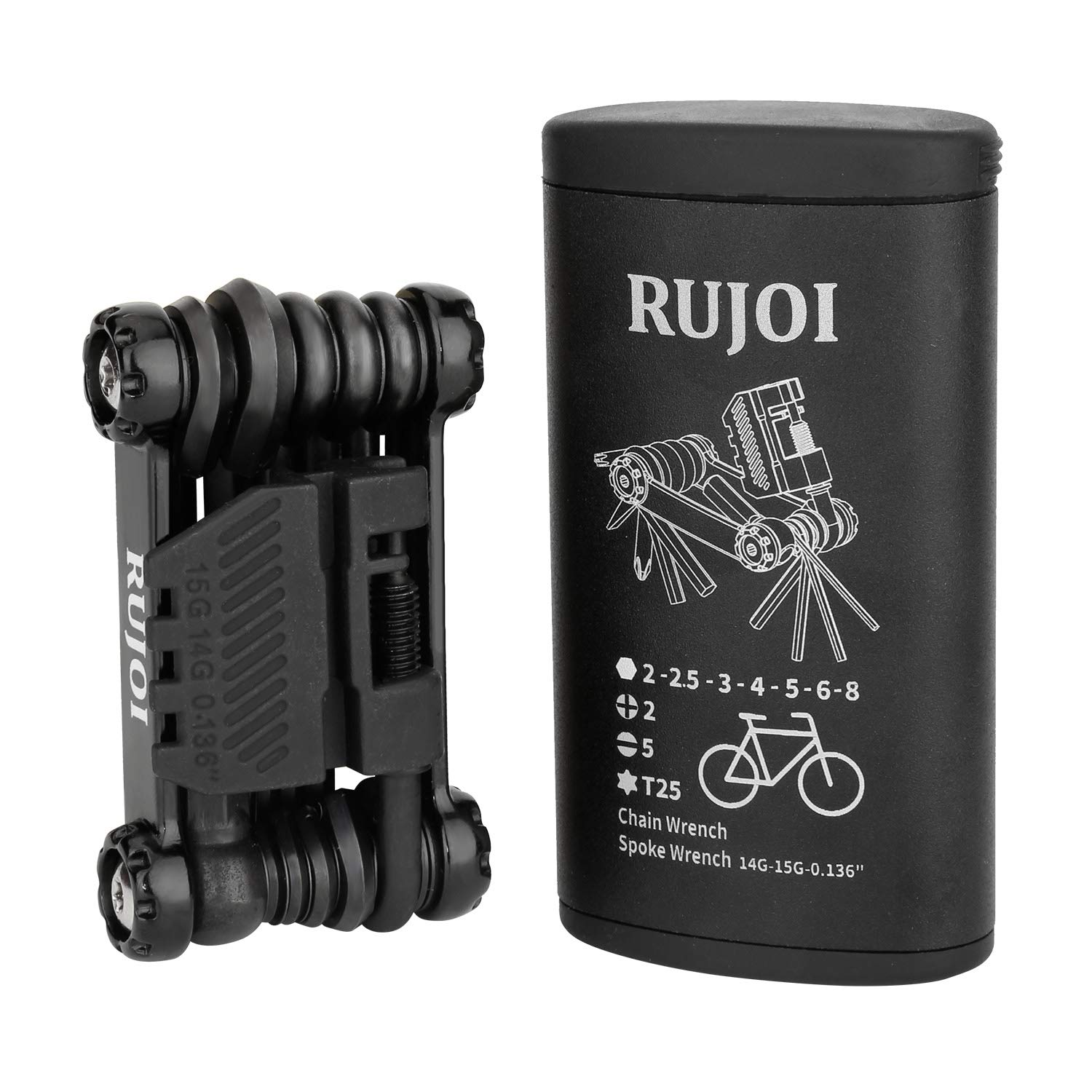 RUJOI Bike Multi Tool with Chain Braker,Bike Tools All in one kit Set with Allen Wrench,Screw,Spoke Wrench,Torx,Chain Broker for Mountain Aluminum Bag Road Bicycle Repair