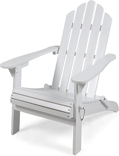 Christopher Knight Home 305373 Cara Outdoor Foldable Acacia Wood Adirondack Chair, White Finish