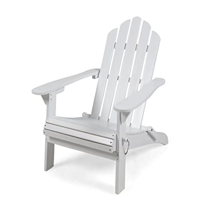 Great Deal Furniture Cara Outdoor Foldable Acacia Wood Adirondack Chair, White Finish
