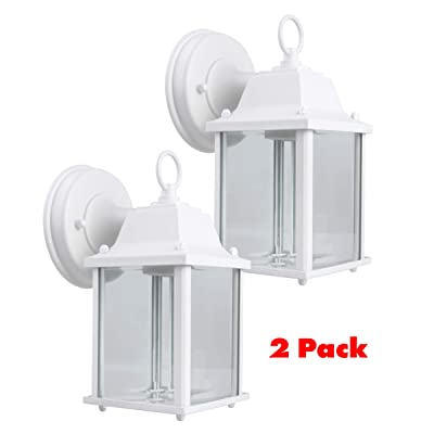 CORAMDEO Outdoor Wall Porch Light, Wall Sconce for Porch, Patio, Deck and More, E26 Medium Base Socket, Suitable for Wet Location, White Powder Coat Cast Aluminum with Beveled Glass 2 Pack
