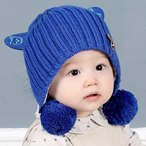 e91f77ae0444d4 Amazon.com: Myzixuan Winter New Cute Kids Knit hat Double-Layer Warm Baby  Wool hat Two Ball Baby Ear Cap: Garden & Outdoor