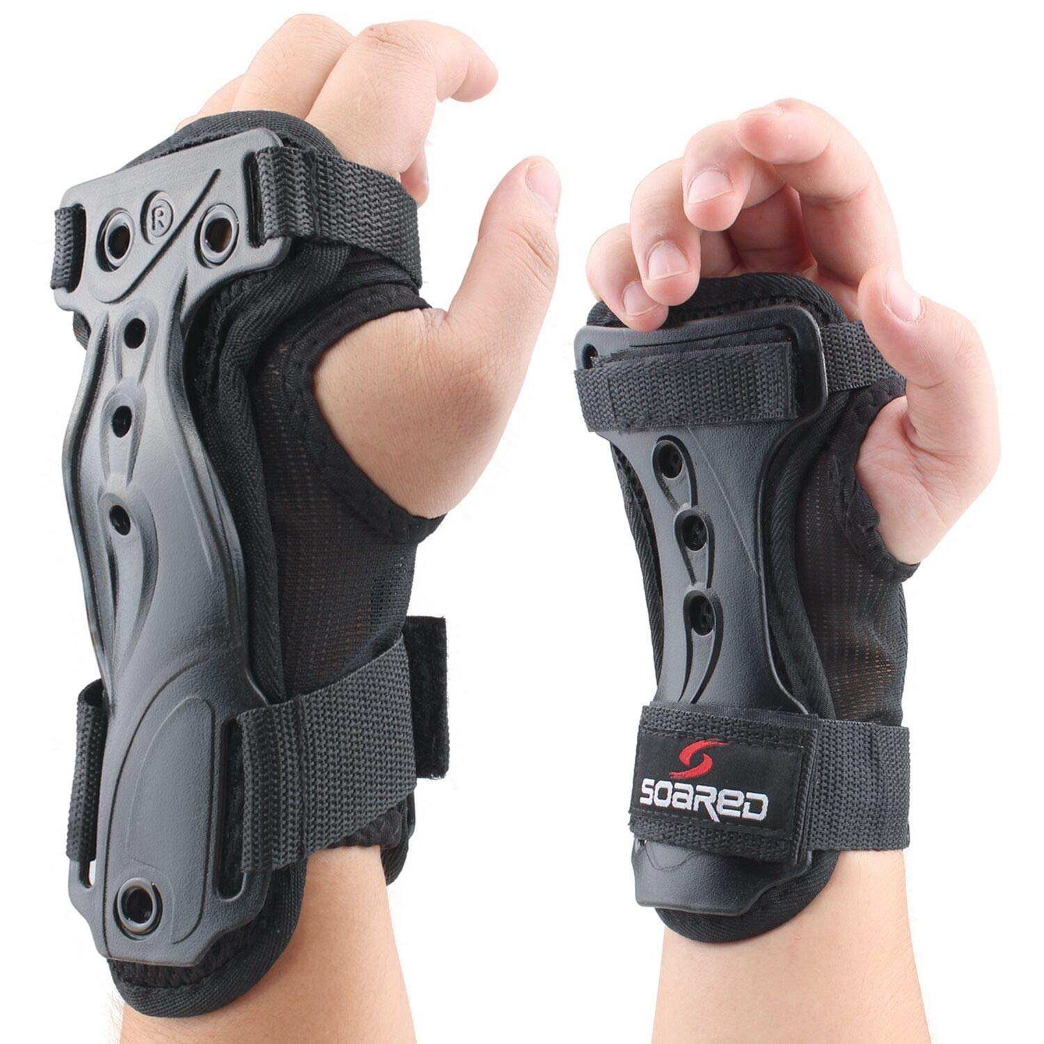 ANSUG Wrist Guards, Hand Protectors Strong Support Guards Adjustable Double Splint Lengthened Wristband for Skiing and Roller Skating, Motorbike Sports