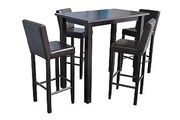 4x Barhocker Mit Bartisch Set Essgruppe Stehtisch Dunkelbraun
