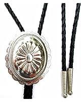 """Western Bolo Tie w Scalloped Oval Concho Ornament; 1 1/2"""" x 2"""" Bright Nickel Finish"""
