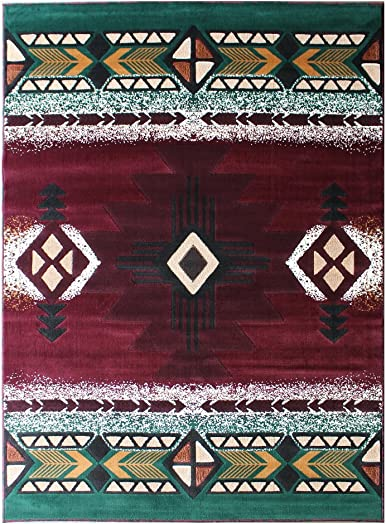 South West Native American Area Rug 8 Feet X 10 Feet Burgundy Design C318