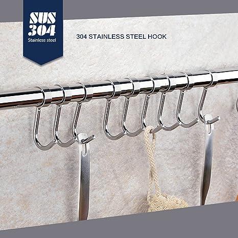 Cocina gancho colgador SUS304 acero inoxidable resistente redondo collares estilo extraíble gancho para soporte de pared para tapa de olla utensilios de ...
