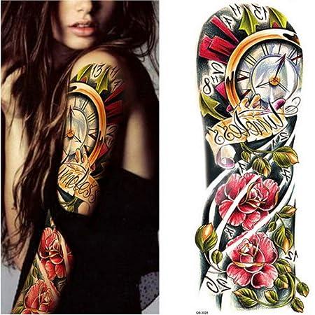 3 unids-Brazo Completo Tatuaje Temporal Manga Pavo Real peonía ...