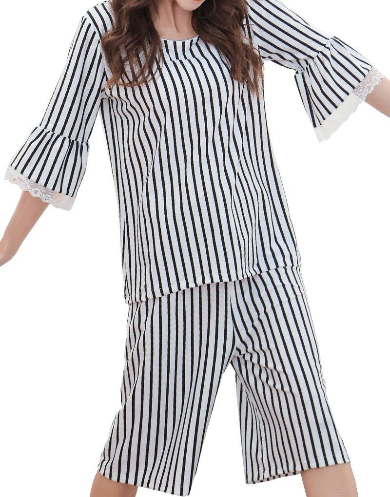 YUEXIN Big Girls' 1/2 Sleeve Summer Pajamas Novel Striped Printed Sleepwear Sets