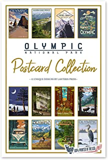 product image for Lantern Press Olympic National Park - Postcard Set of 12 Different Original Hand Illustrated Postcards …
