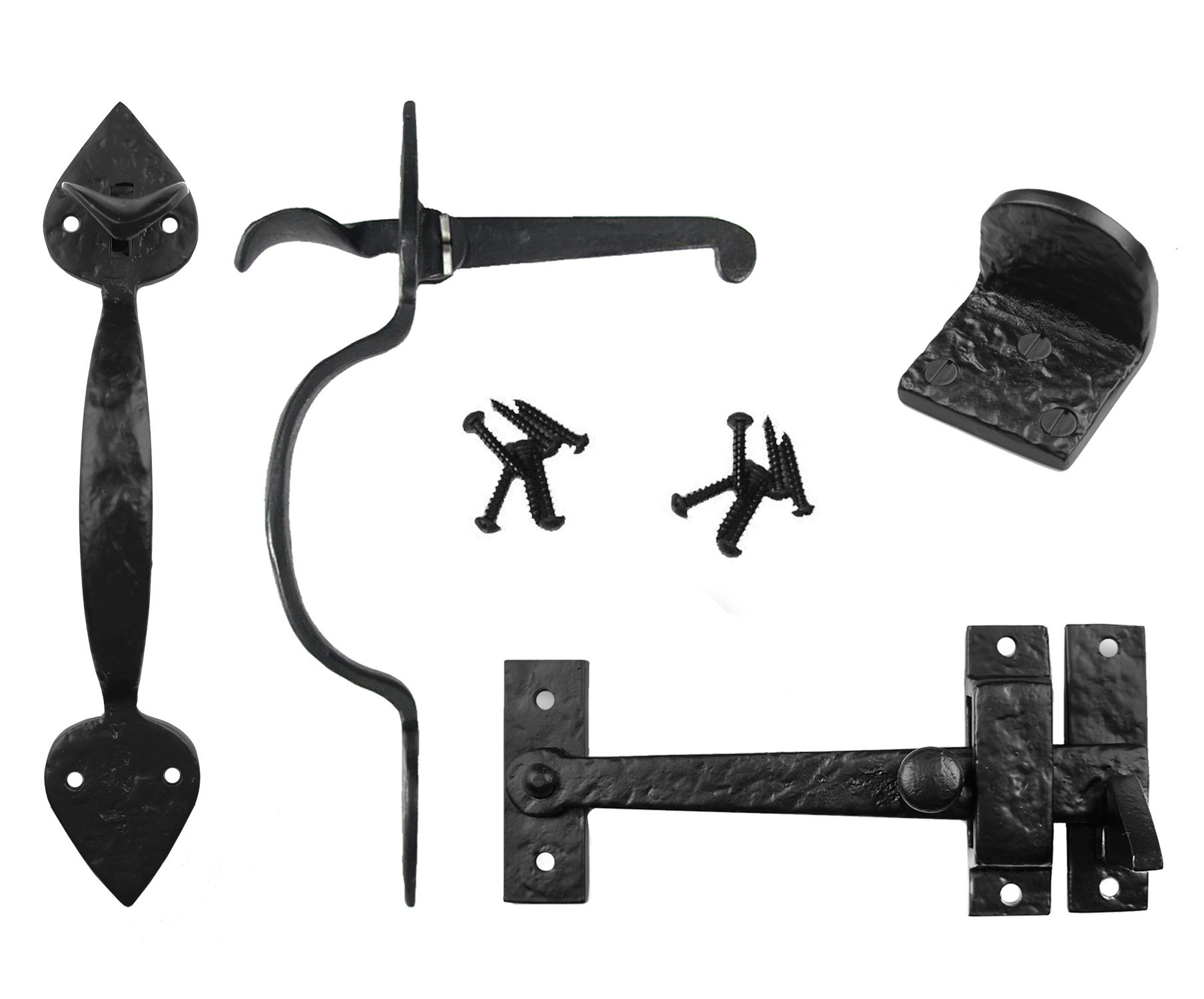 Iron Valley - Complete Heart Gate Latch Kit - Solid Cast Iron