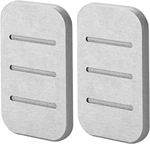 Linkidea Diatomite Soap Dish, Fast Drying Diatomaceous Earth Absorbent Saver Soap Bar Holder for Bath Shower, Soap Holder Made from Self-Dry Diatomaceous Earth Stone 2 Pack (Gray)