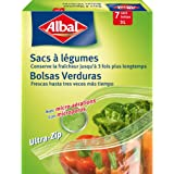 Albal 7 Sacs à Légumes, Fond Plat, Fermeture Ultra-Zip, Micro-aérations, 3 L, Lot de 2