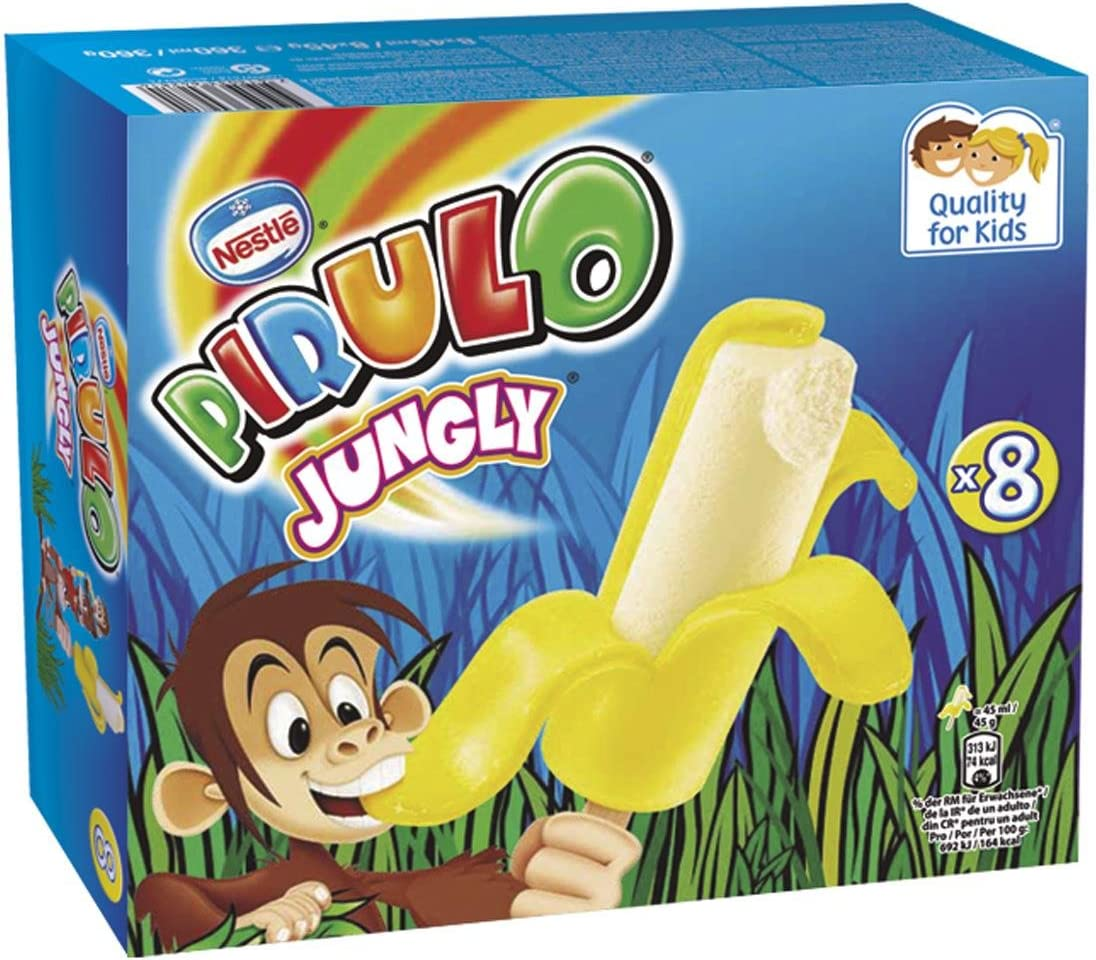 Pirulo Jungly Banana, Helado Sabor a Plátano - Paquete de 8 x ...