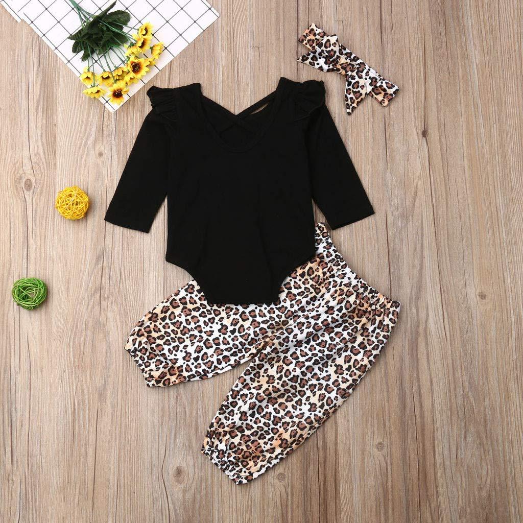 Oliviavane Baby Kleidung Set M/ädchen Overall Jungen Strampler Leopard Hosen Stirnb/änder Overall Outfits Set Babykleidung Baby M/ädchen Kleider 3M-3Y
