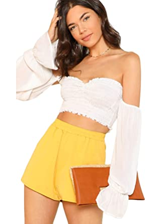 a95db85220b Floerns Women's Summer Off Shoulder Sexy Long Sleeve Crop Top Blouse White-2  XS