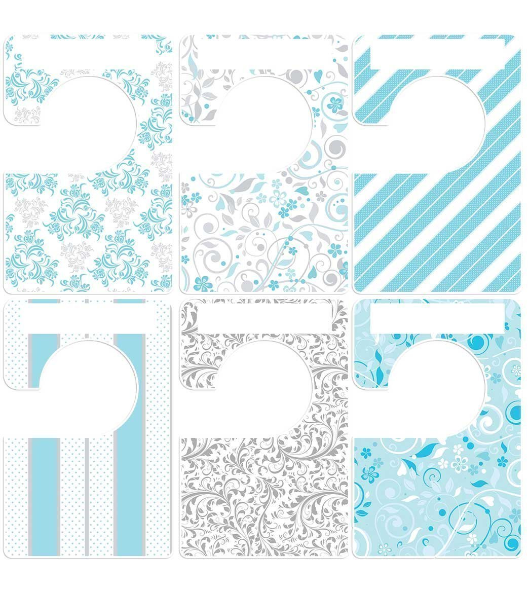 Closet Doodles 6 clothing dividers blue gray any size adult or baby Plus 48 Sorting Labels