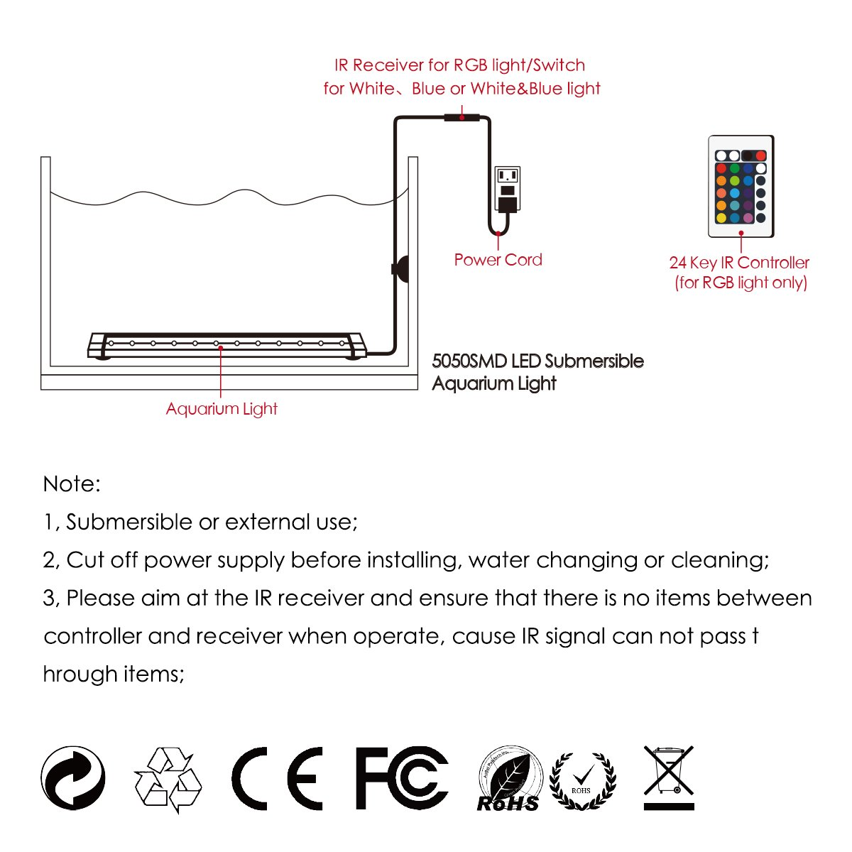 docean d079 de rgb17 Acuario Lámpara Iluminación SMD 5050 33 LED 7.8 W RGB luz 58 cm - Lámpara con EU Conector Lighting resistente al agua para pez Tank, ...