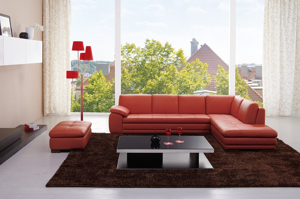 Amazon.com Ju0026M Furniture 625 Pumpkin Colored Italian Leather Sectional Sofa With Tufted Design in Right Hand Facing Kitchen u0026 Dining : italian leather sectionals - Sectionals, Sofas & Couches