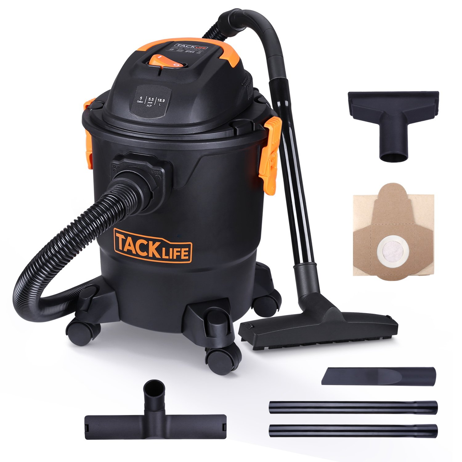 Tacklife Wet Dry Vacuum 5 Gallon, 5.5 Peak HP with 20 FT Clean Range, 4-layer Filtration System and Safety Buoy Technology for Dry/Wet/Blowing, Multipurpose Accessories Included - PVC01A