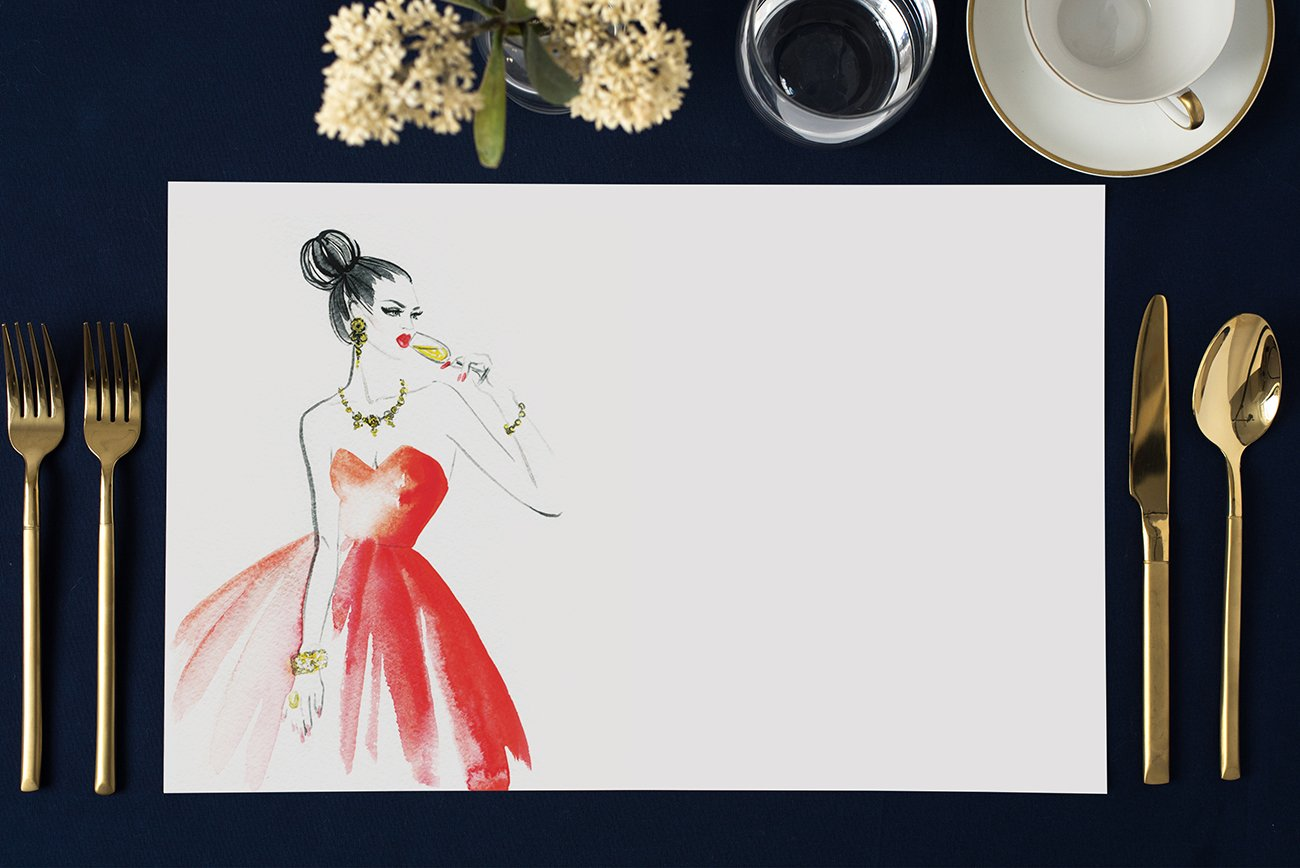 Pack of 25 Stylish Paper Placemats Milestone Birthday Chic Cocktail Parties Bridal Shower Brunch Luncheon Dinner Soir/ée Table Setting Decor 17 x 11 Disposable Easy Cleanup Place Mats DB Party Studio