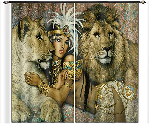 LB Teen Kids Animal Decor Room Darkening Blackout Curtains,Beauty and The Lion Tiger 3D Effect Print Window Treatment Living Room Bedroom Window Drapes 2 Panels Set,52 x 96 Inches