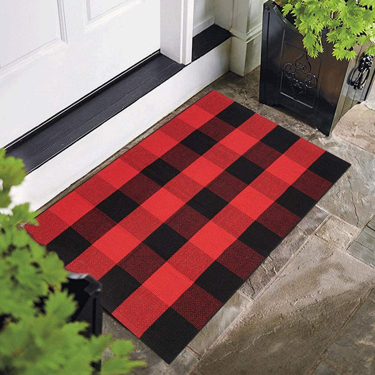 USTIDE Buffalo Check Rug 35.4 x59 100 Cotton Hand-Woven Area Rug Black Red Machine Washable Area Carpet Farmhouse Doormat
