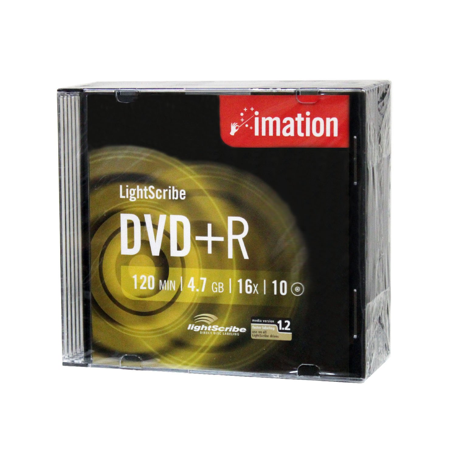 Imation 16x DVD+R LightScribe Printable Blank Media, 4.7GB/120min - 10 Pack by AMBA7
