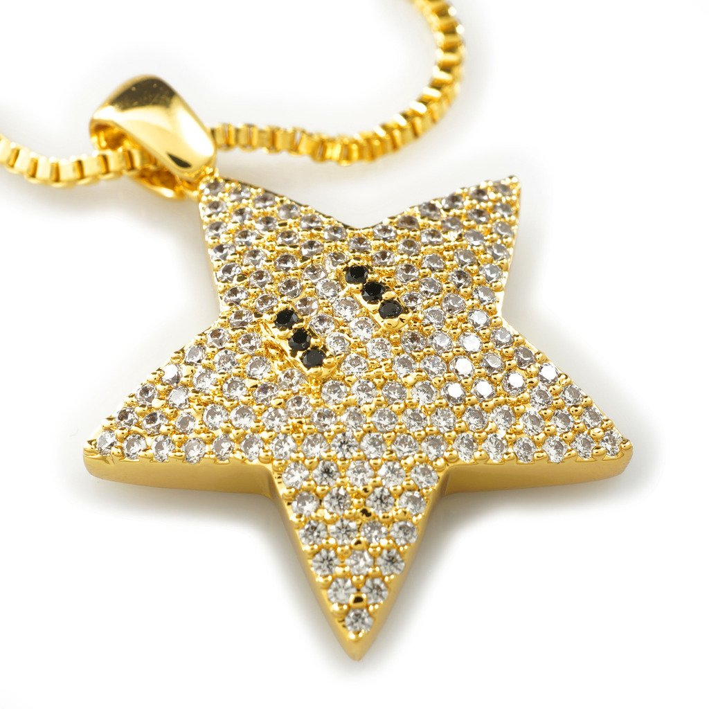 18k Yellow Gold-Plated Cubic Zirconia Mario Star Pendant with 1.5mm 30 Box Chain NIVS BLING