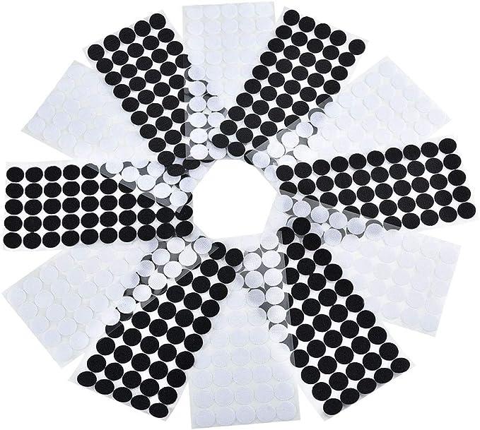 100 Pares Negro ZARRS Adhesivo Redondo Monedas,200 Piezas Velcro Adhesivo Redondo 15mm Cintas Autoadhesivo para Hogar,Escuela,Oficina,Bricolaje