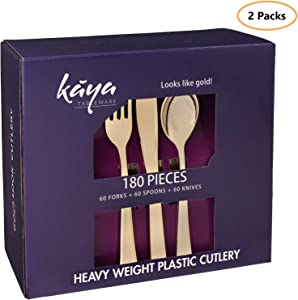 360 Piece Plastic Silverware Set – Disposable Gold Cutlery – 120 Heavyweight Forks, 120 Fancy Spoons, 120 Knives – Heavy Duty Bulk Flatware Party Utensils for Wedding, Easter, Birthday & All Occasions