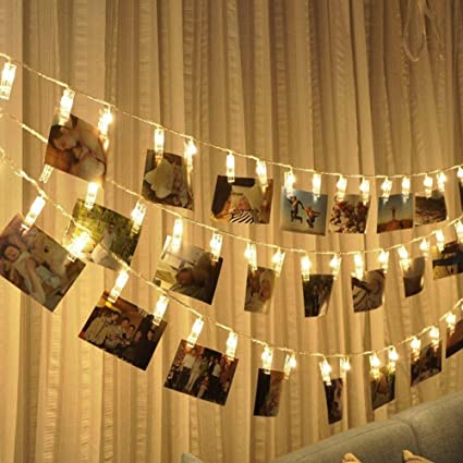 new product 55586 5e3da SHHE Peg Fairy Lights 2.5M 20 LED 2 Modes Battery Operated Photo Clip  String Lights for Hanging Pictures Indoor Outdoor Decoration(Warm White)