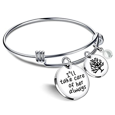 mother in law bangle bracelets i will take care of her always bride mom wedding