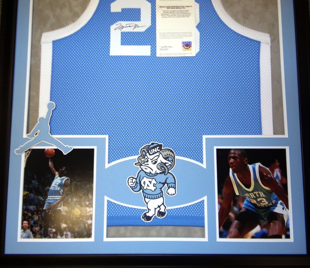 f97e3c5ee Michael Jordan North Carolina Tar Heels Autograph Signed Custom Framed  Jersey Blue UDA Upper Deck Authenticated at Amazon s Sports Collectibles  Store