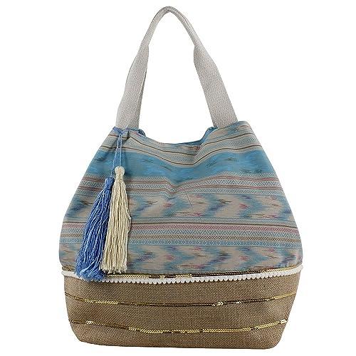 For Time Shopper étnico con Tiras y Rafia, Bolsa de tela y ...