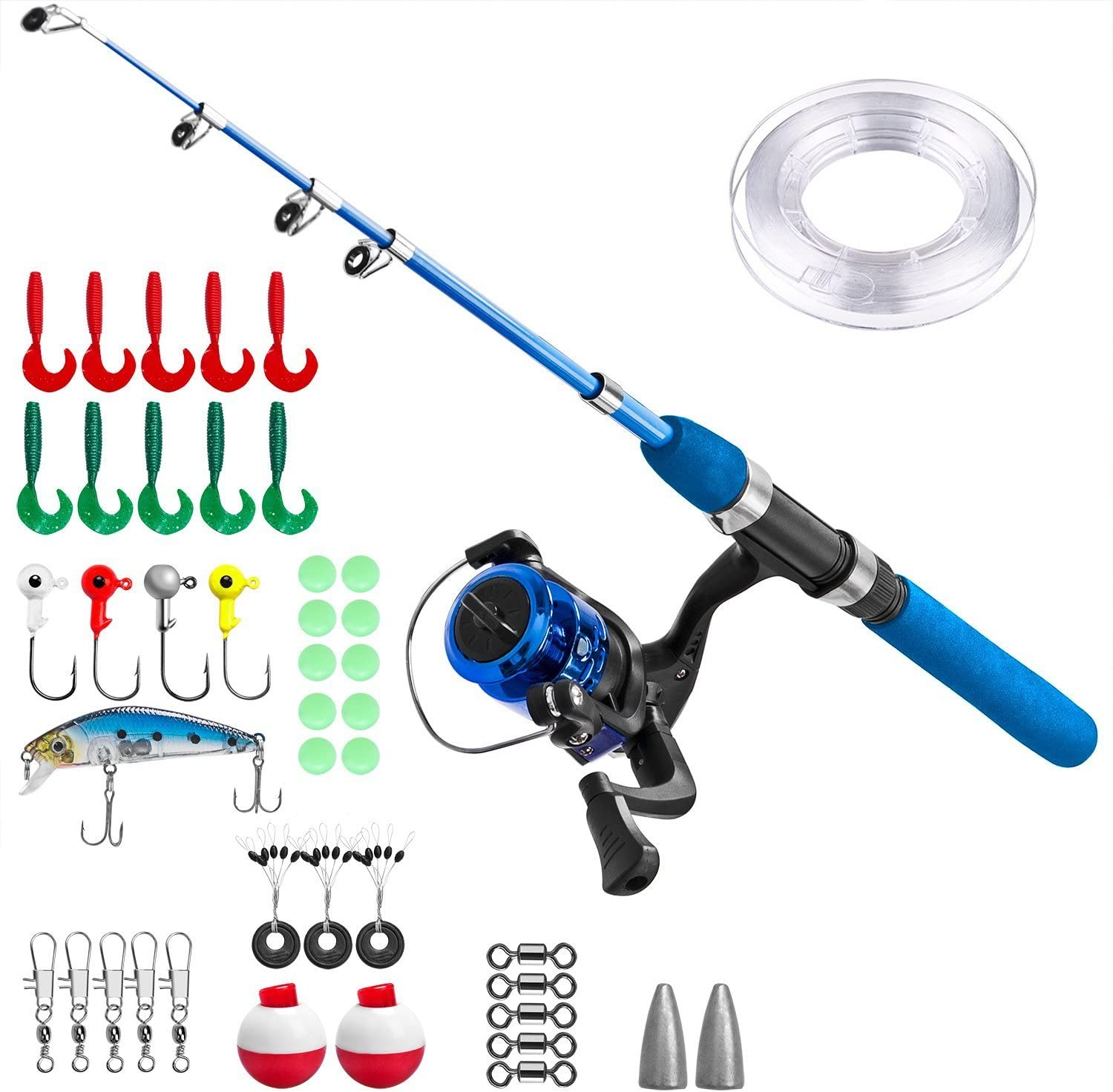 PLUSINNO Kids Fishing Pole,Light and Portable Telescopic Fishing Rod and Reel Combos for Youth Fishing (1.2, Blue Handle)